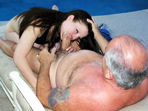 Nothing like a cock-slurping young nympho to give an old geezer the hard-on of a lifetime; she's so dirty, she might even give him a heart attack!